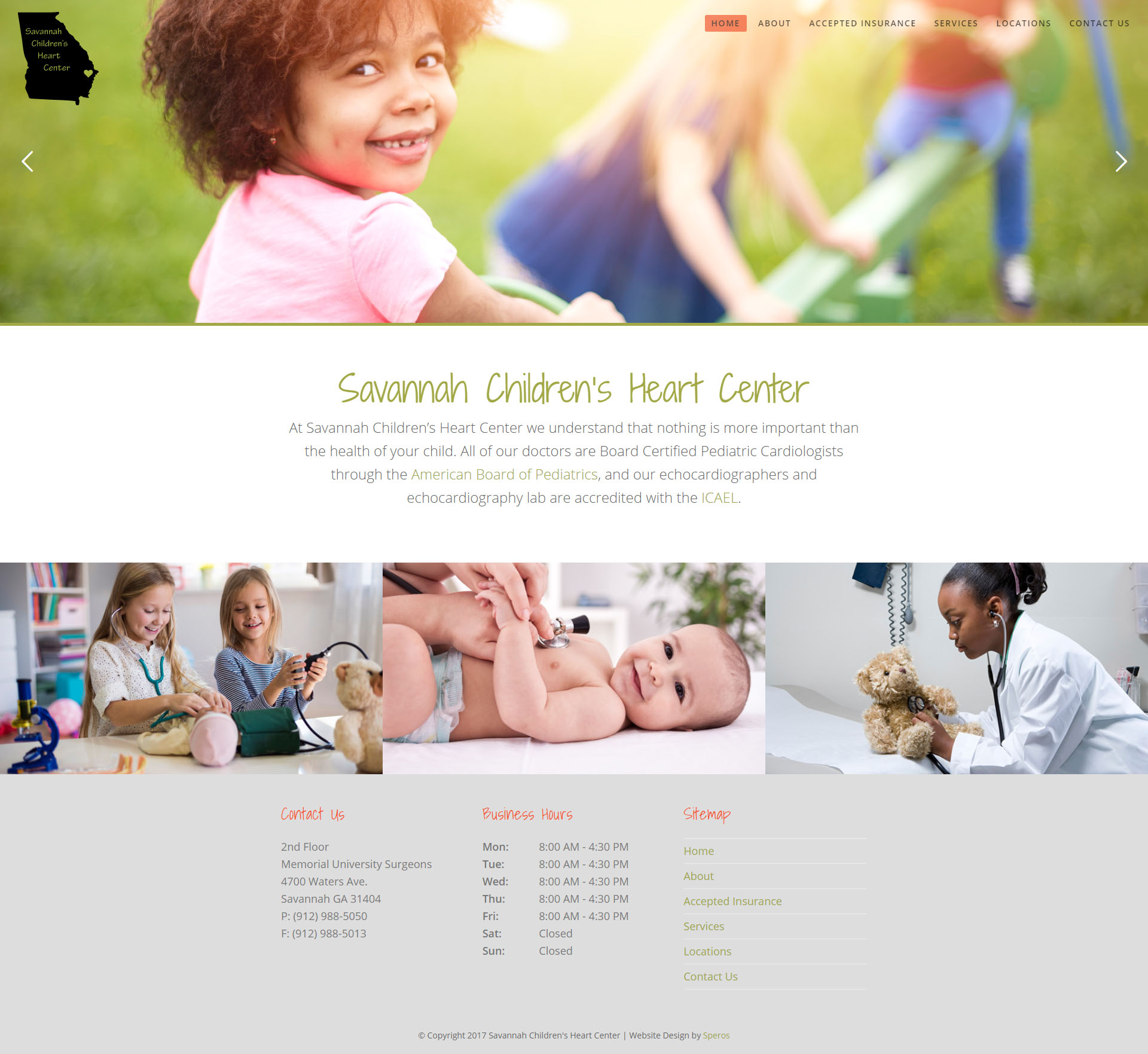 Savannah Children's Heart Center Website Homepage