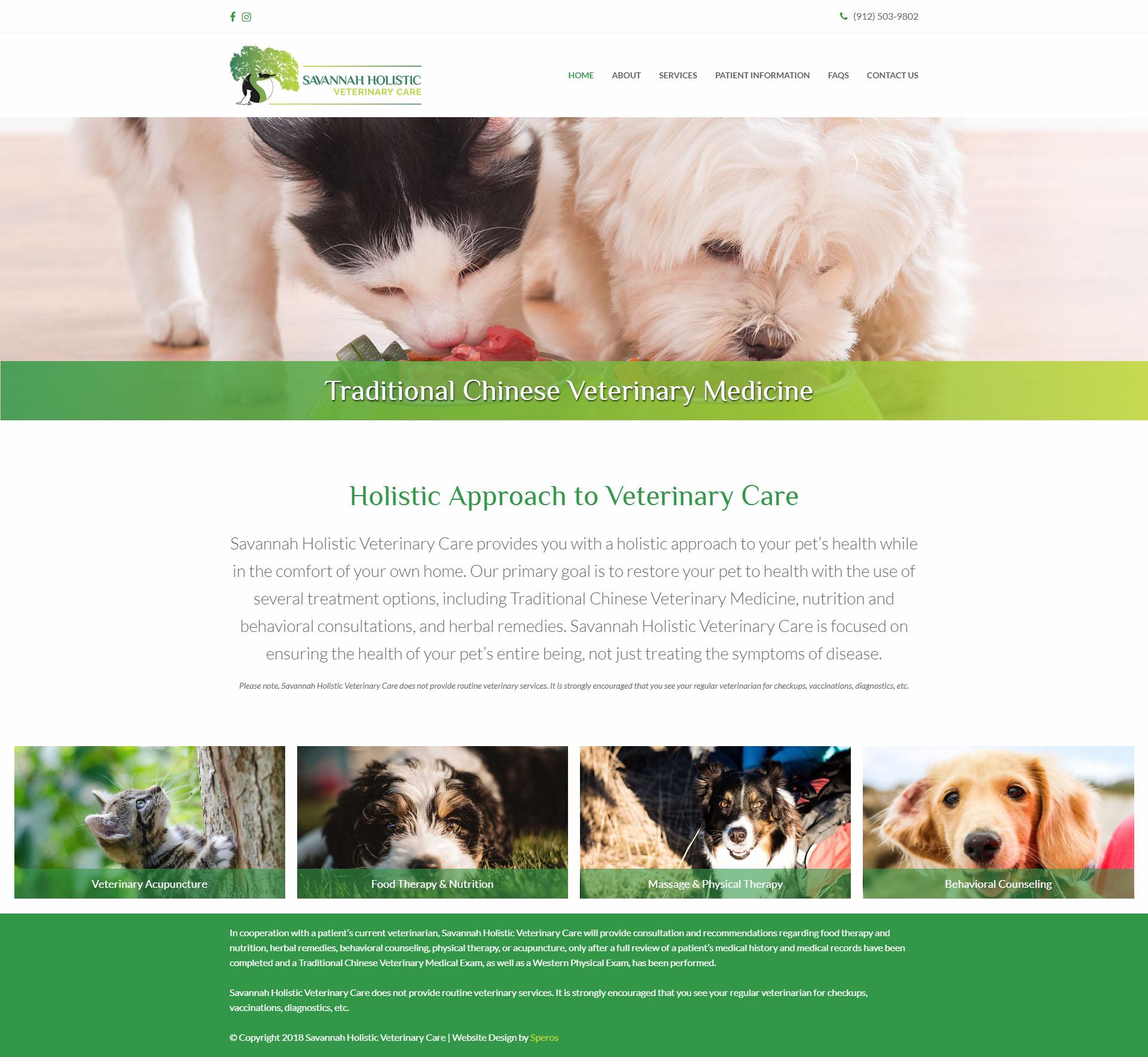 Savannah Holistic Veterinary Care Home Page - Website Design - Speros