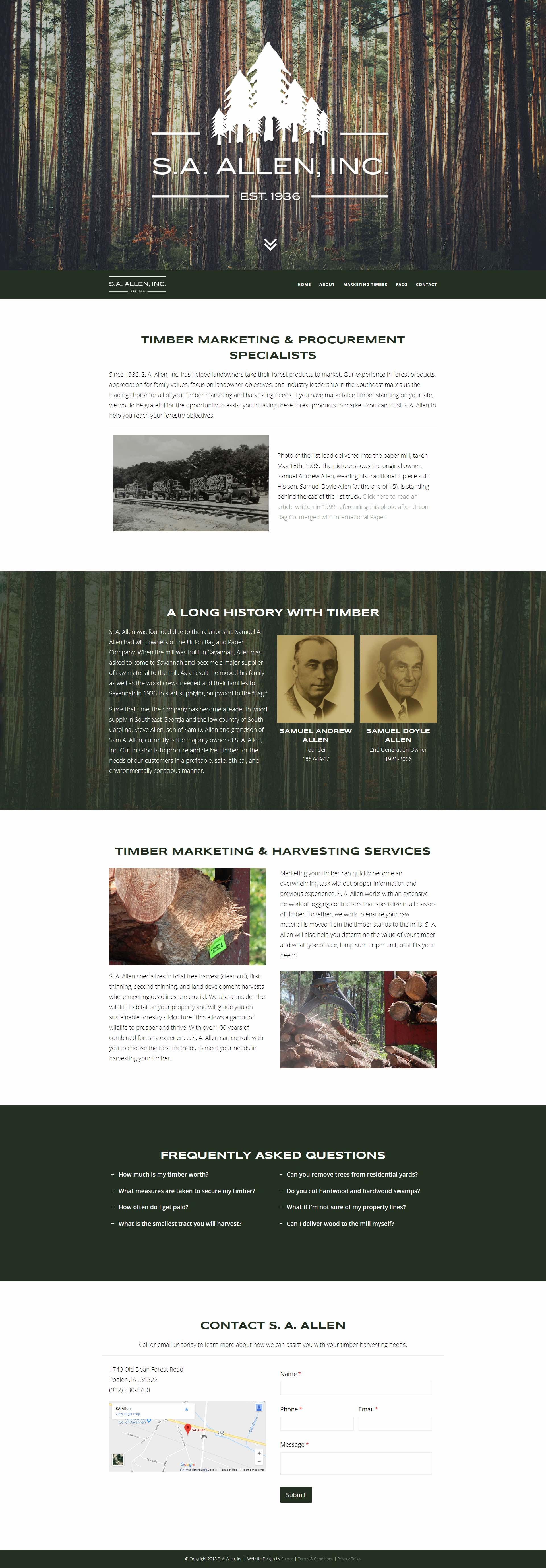 S. A. Allen, Inc. Website Homepage - Speros Web Design - Savannah, GA