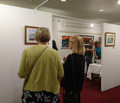 People at art exhibition, Grantown Museum