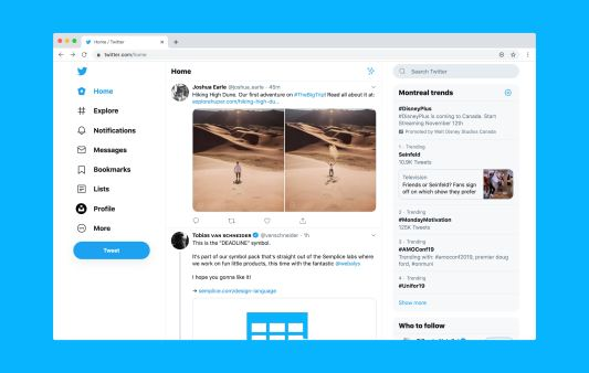 View of Generic Twitter Home Page Timeline with two photos of a guy in desert.