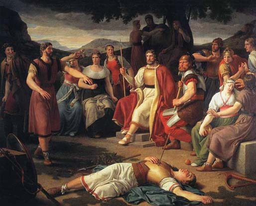 The Death of Baldur by Christoffer Wilhelm Eckersberg (1816. Public domain)