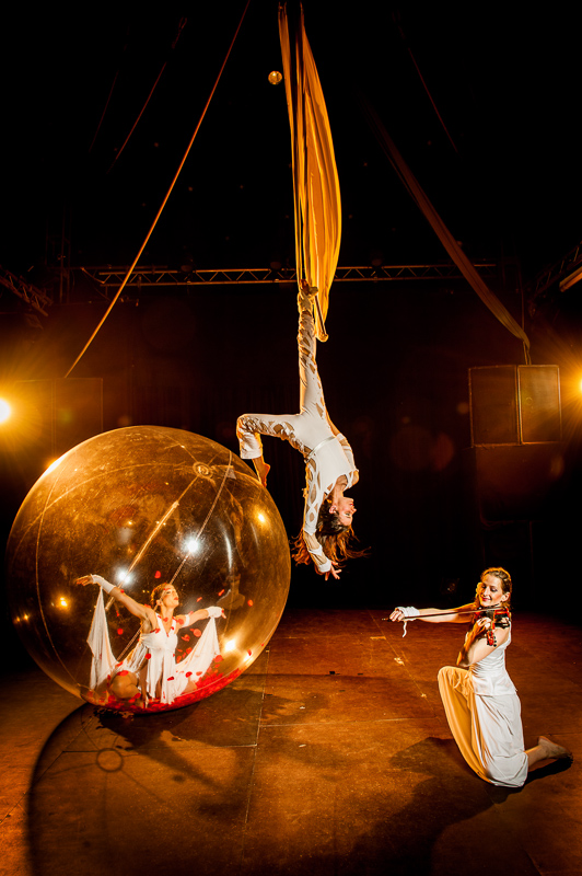 bubble dance, trapeze, violin