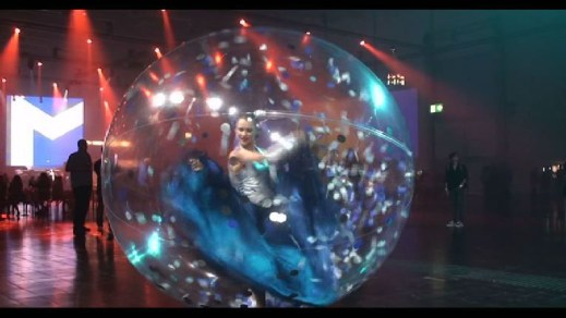 Dancers in plastic spheres