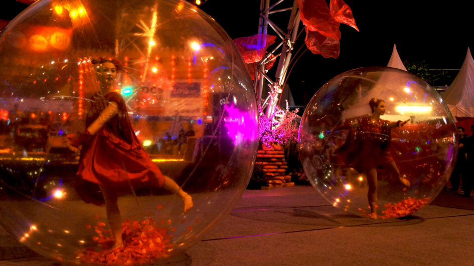 dance in transparent spheres