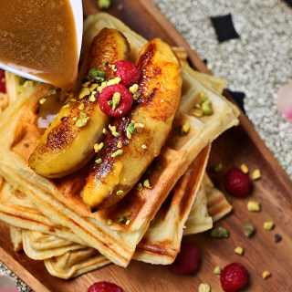 Waffles with Salted Caramel and Grilled Bananas