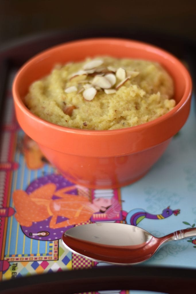 Semolina Pudding; Sooji Sheera, Sooji Halwa by Spice Cravings. Sooji Sheera is an Indian sweet pudding dessert made by pan-roasting semolina with milk and sugar. We make this recipe healthier by using almond meal/ flour. #food #foodie #foodblogger #delicious #recipe #instantpot #recipes #easyrecipe #cuisine #30minutemeal #instagood #foodphotography #tasty #indian