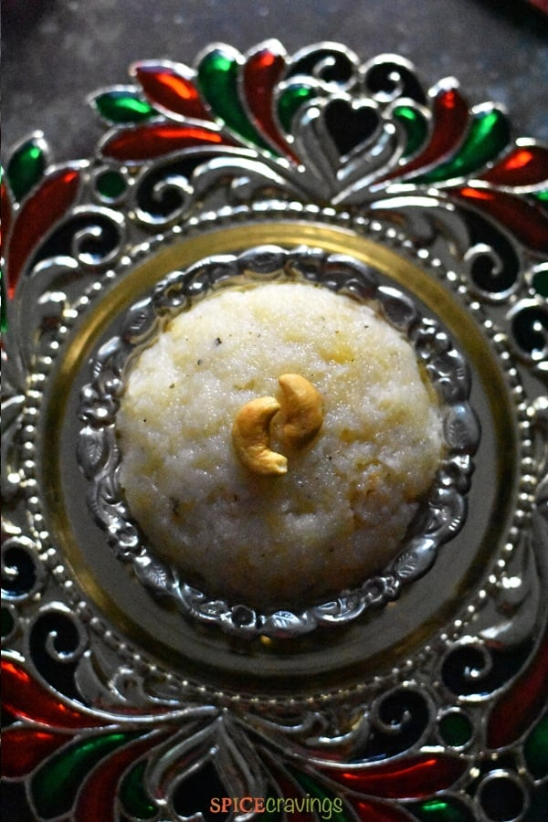 Sooji halwa made in Instant Pot plated on a traditional platter