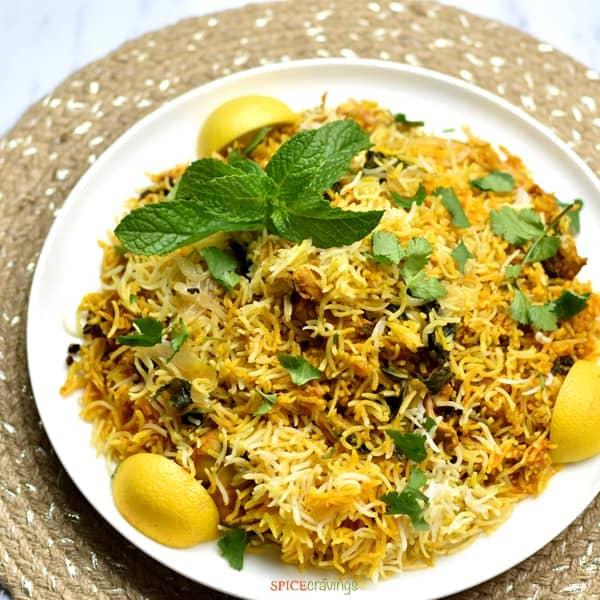 Instant Pot Chicken Biryani on a white plate