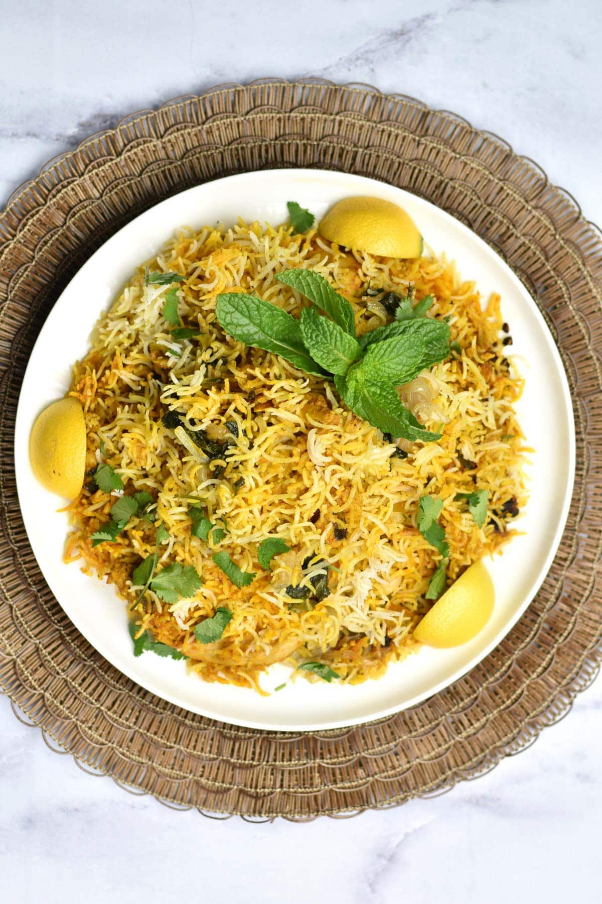 Top view of Instant pot Chicken Biryani