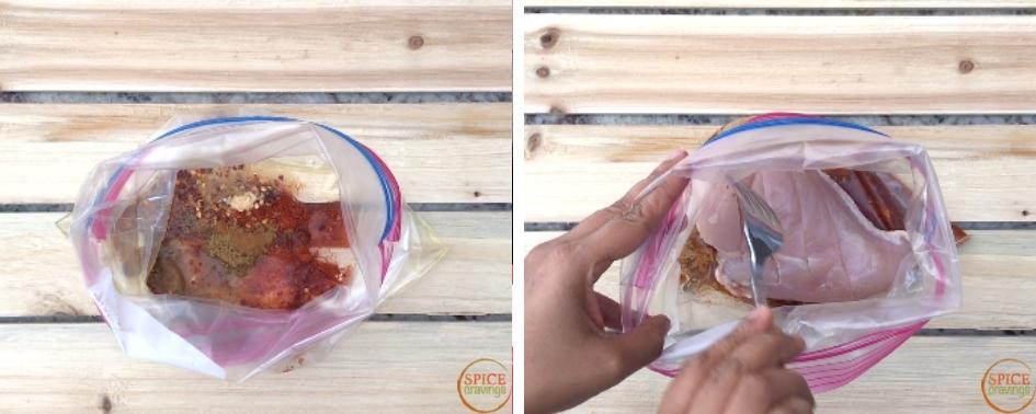 Adding chicken to a ziplock with Mediterranean spice mix