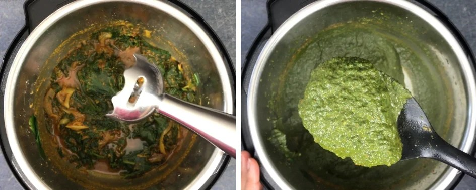 Steps showing how to make one-pot palak paneer