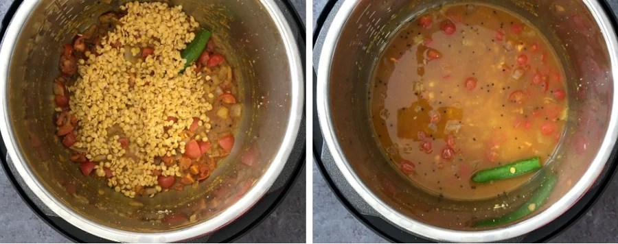Step by step process showing how to make dal in Instant pot