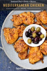 Mediterranean chicken grilled and served with spanish olives