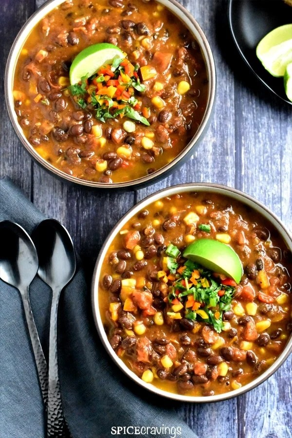 Black bean Chili made in Instant Pot using the dump and start method