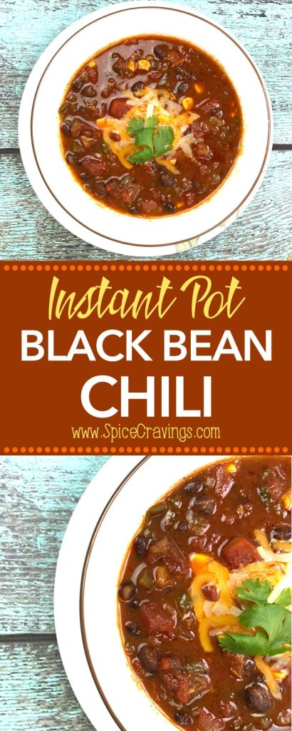 This Instant Pot Weeknight Black Bean Chili by Spice Cravings has creamy black beans simmered in vegetable broth with sweet diced tomatoes, and fire roasted green chilies. It's seasoned with taco seasoning and unsweetened cocoa powder! Delish!! #food #foodie #foodblogger #delicious #recipe #instantpot #recipes #easyrecipe #cuisine #30minutemeal #instagood #foodphotography #tasty #chili #vegetarian #glutenfree