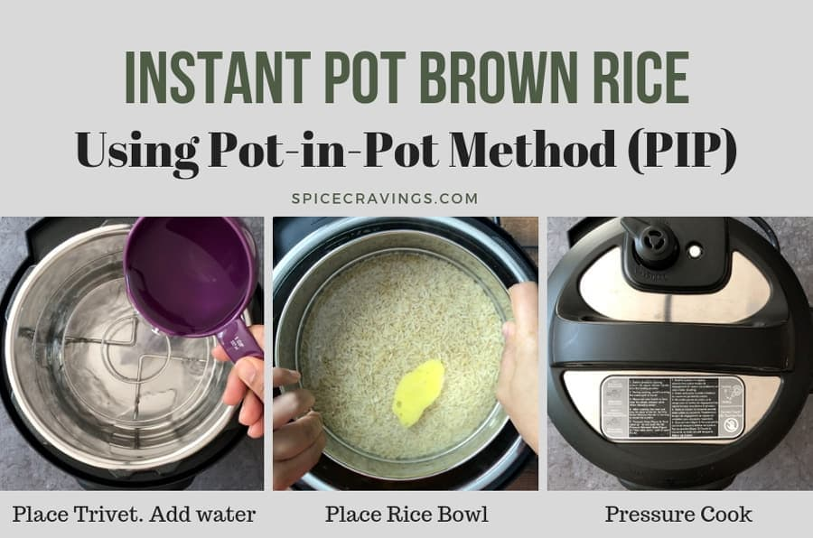 pouring water in instant pot with trivet, brown rice and water in instant pot, instant pot lid