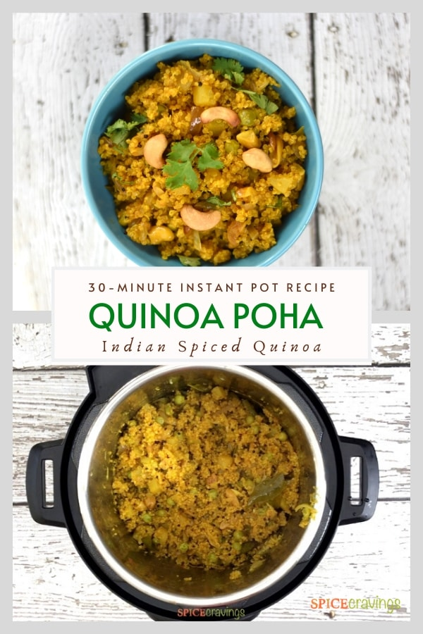 Two shots showing quinoa in the instant pot and a blue bowl