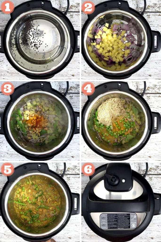 a 6-photo grid showing step by step instructions for making poha in the instant pot