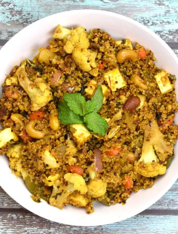 Quinoa cooked with vegetables with Indian spices, in a Biryani style
