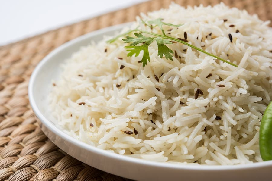 Jeera rice, basmati rice flavored with fried cumin seeds