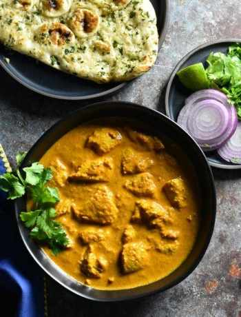 Top shot of authentic butter chicken