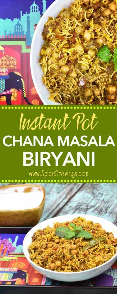 Chana Masala Biryani or Chickpeas Biryani, is a combination of two popular Indian dishes, Chickpeas Masala Curry & Indian Rice Pilaf called Biryani! #food #foodie #foodblogger #delicious #recipe #instantpot #recipes #easyrecipe #cuisine #30minutemeal #instagood #foodphotography #tasty #Indian #vegan #Rice #curry