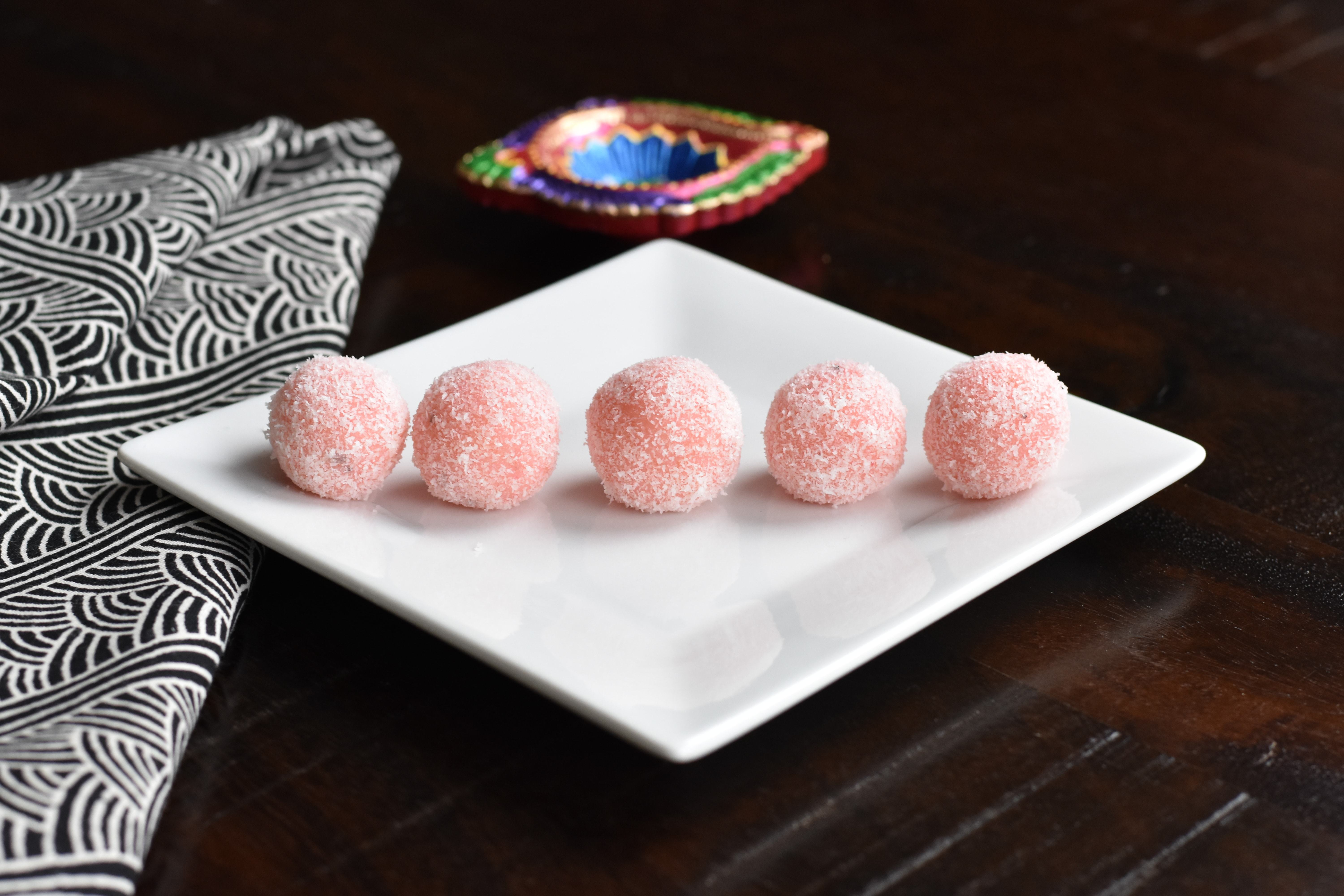 Easy Coconut Ladoo on a white plate