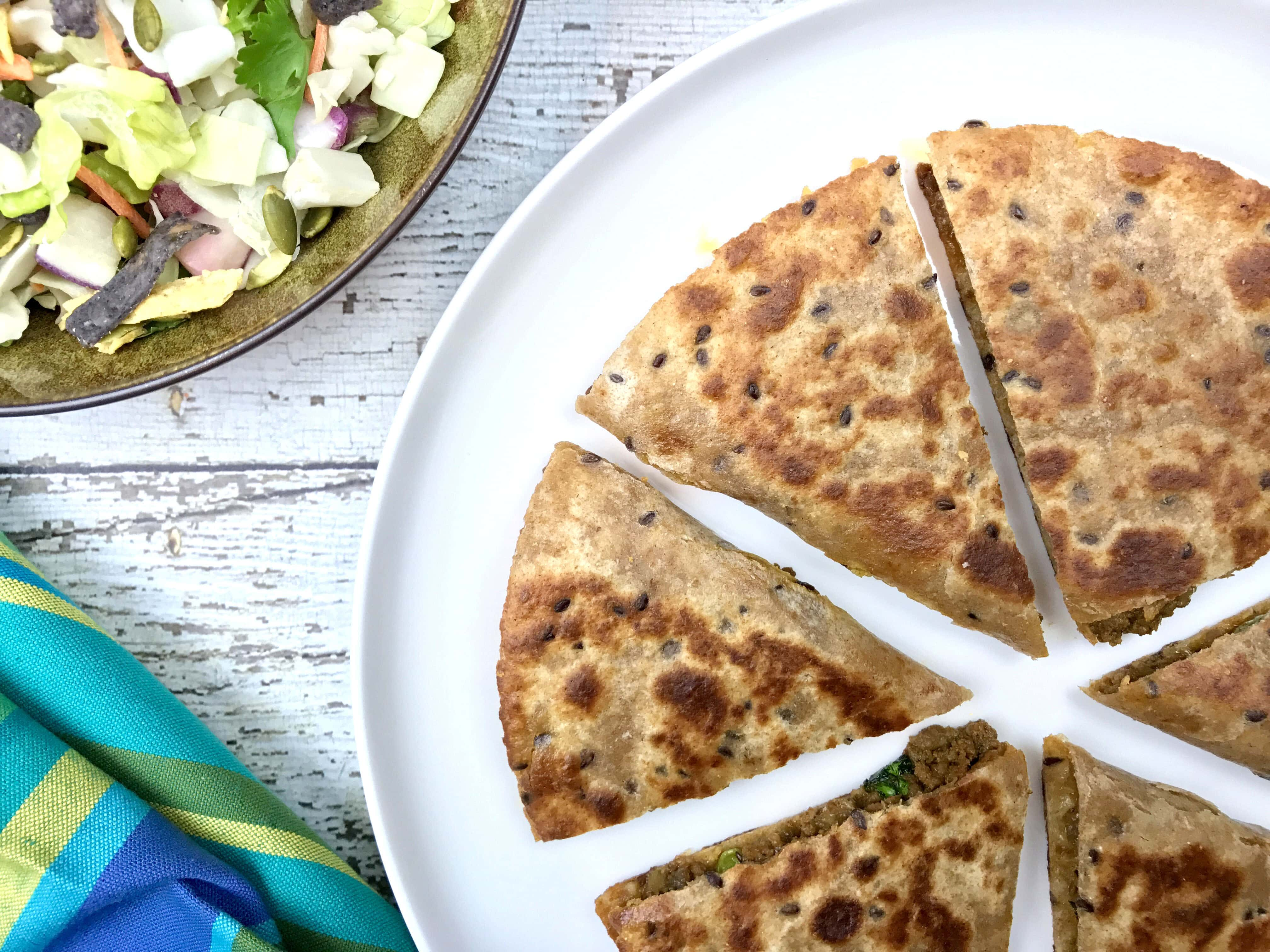 Keema Matar Quesadillas instant pot, by Spice Cravings. Keema MatarQuesadillas is grilled tortillas filled with cheese & minced meat (Keema) cooked with green peas seasoned with warm Indian spices (garam masala). #food #foodie #foodblogger #delicious #recipe #instantpot #recipes #easyrecipe #cuisine #30minutemeal #instagood #foodphotography #tasty #indian