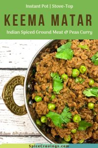 Indian spiced ground meat and peas curry, called Keema Matar, served in a stylish copper bowl