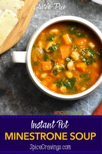 Italian minestrone soup with beans and vegetables, and quinoa.