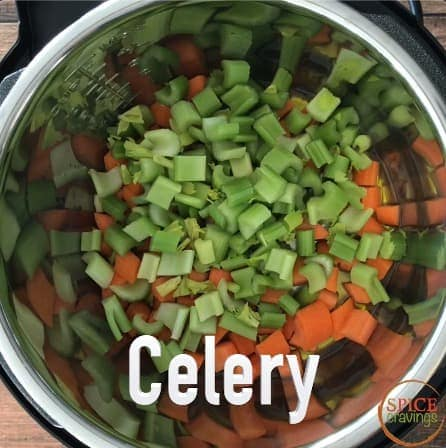 Adding celery to the Instant Pot for soup