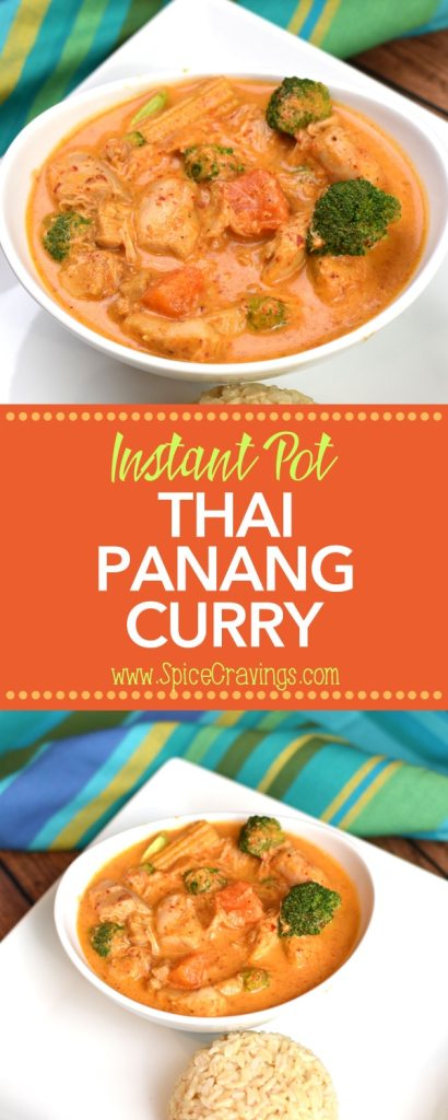 Instant Pot Thai Panang Chicken Curry by Spice Cravings. Thai Panang Curry is a rich, mildly spicy and creamy coconut curry with Chicken, Seafood or Tofu (Vegetarian). #food #foodie #foodblogger #delicious #recipe #instantpot #recipes #easyrecipe #cuisine #30minutemeal #instagood #foodphotography #tasty #curry #Thaifood #thai #thaicuisine #curry #coconut #vegan #glutenfree
