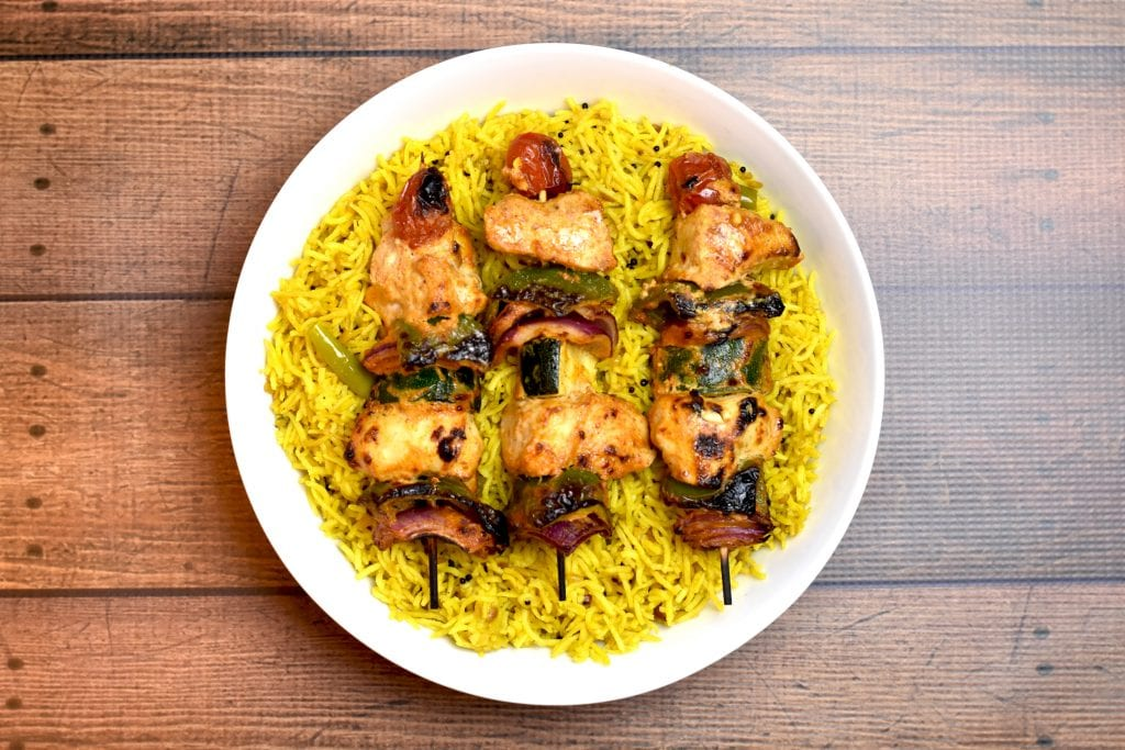 Chicken Skewers & Vegetables with Lemon Rice, made in Instant Pot by Spice Cravings. A delicious complete meal that comes together in under 30 minutes. #food #foodie #foodblogger #delicious #recipe #instantpot #recipes #easyrecipe #cuisine #30minutemeal #instagood #foodphotography #tasty #Chicken #grill #kebab