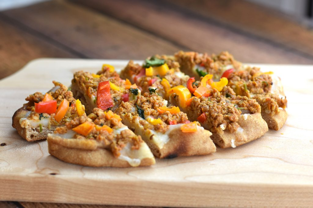 Keema Naan Pizza, Indian ground chicken Keema pizza