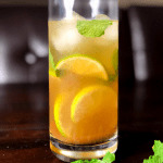 A tall glass of chilled Indian spiced Mojito Cocktail, called JalJeera Mojito