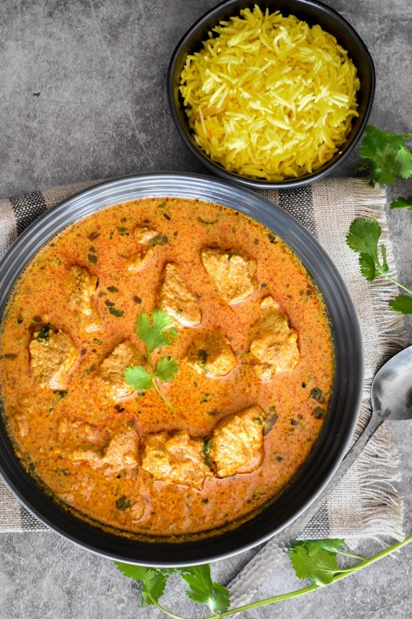 Indian lamb Korma curry in a bowl