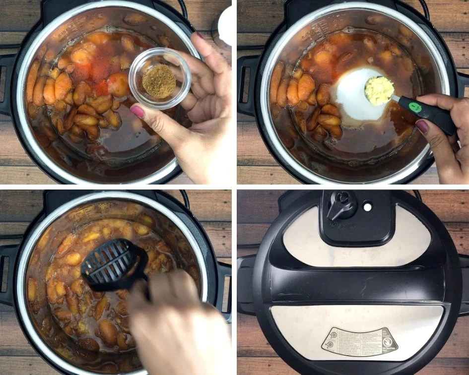 Cooking peaches with ginger and spices