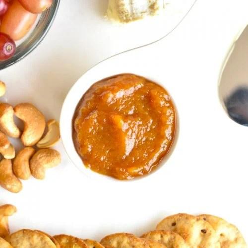 Peach chutney on a cheese board