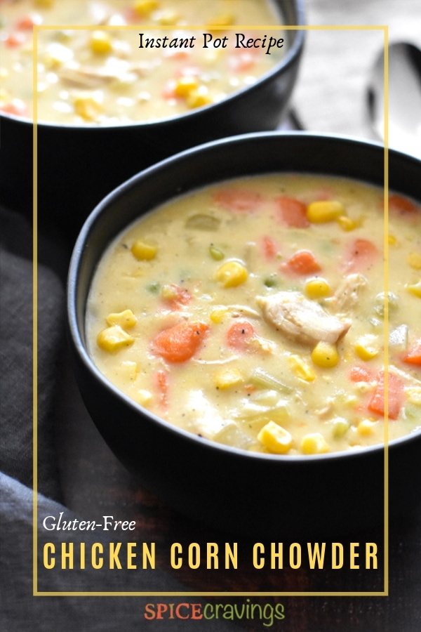 Chicken corn chowder with carrots and celery served in a bowl