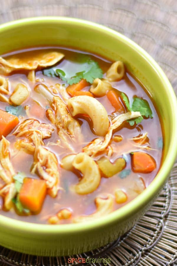 Bowl of chicken noodle soup with Ethiopian Spices