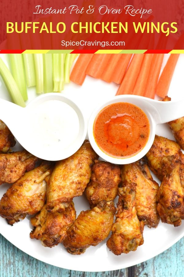 Chicken wings cooked in Instant pot, crisped in the oven and served with celery and carrots