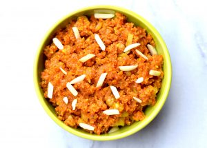 Instant Pot Carrot Halwa Gajar ka Halwa by Spice Cravings. Carrot Halwa or Gajar ka halwa is a dessert from Punjab, in the Indian subcontinent. It's consistency is between a fudge and a pudding. It is made by slow cooking grated carrots with milk and sugar, flavored with cardamom and saffron and garnished with chopped almonds and cashews. A perfect comfort dessert for winters. #food #foodie #foodblogger #delicious #recipe #instantpot #recipes #easyrecipe #cuisine #30minutemeal #instagood #foodphotography #tasty