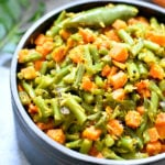 Green Beans and Carrot cooked with coconut flakes and mustard seeds