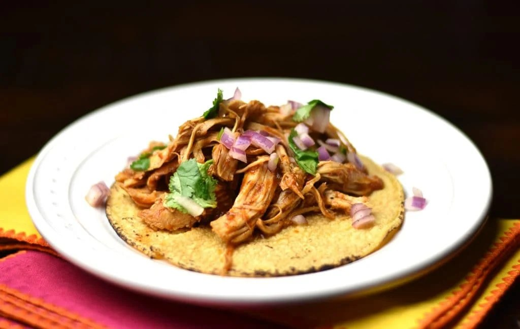 3-ingredient instant pot salsa chicken on white plate