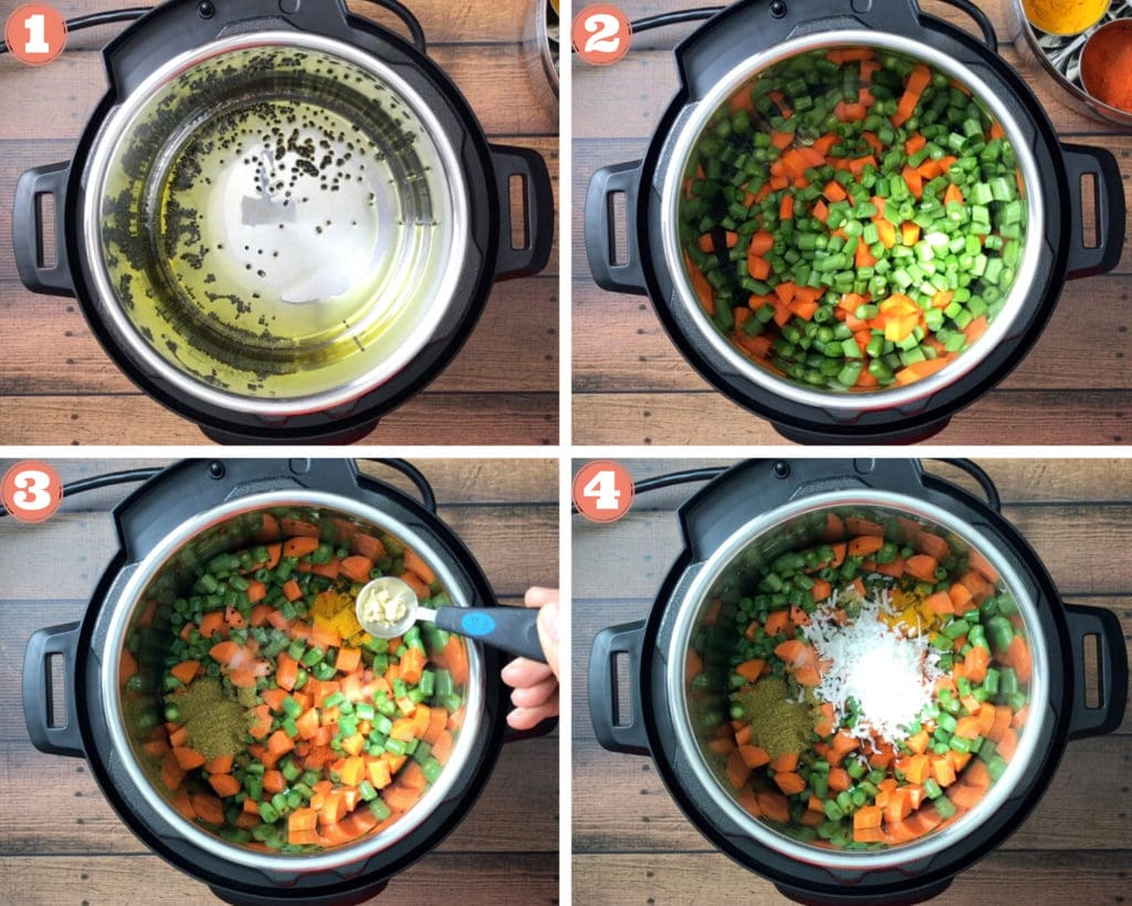 Sautéing green beans and carrots in the Instant Pot before pressure cooking