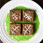 Chocolate Brownies recipe using Nutella, decorated for Super Bowl