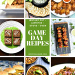A collection of game day recipes including wings, dips, chili and tacos