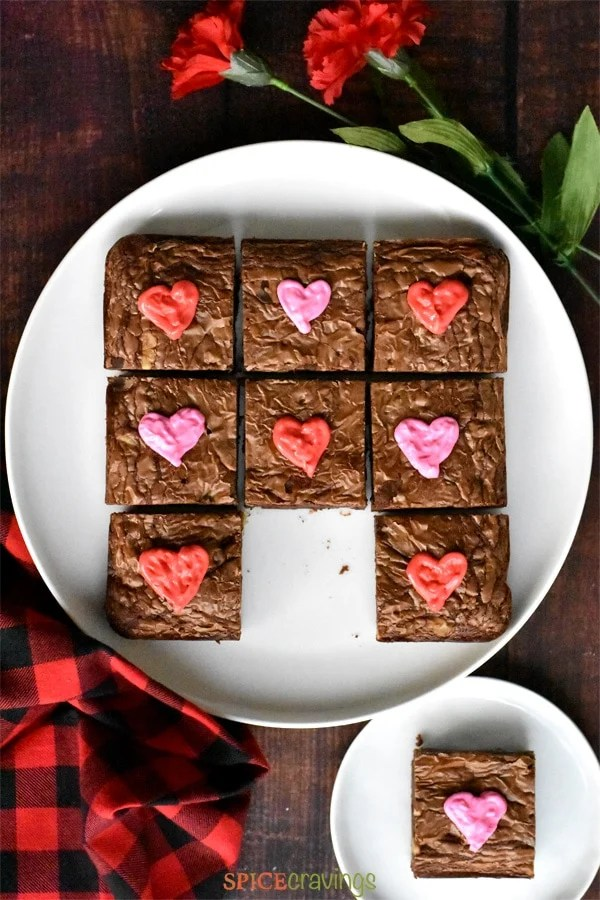 Chocolate Nutella Brownies decorated with pink and red hearts for Valentine's Day