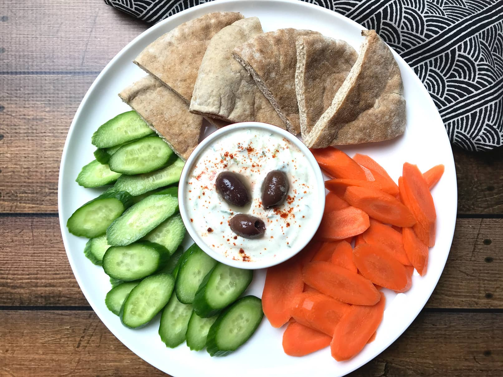 Easy Tzatziki dip served with sliced pita bread and vegetables
